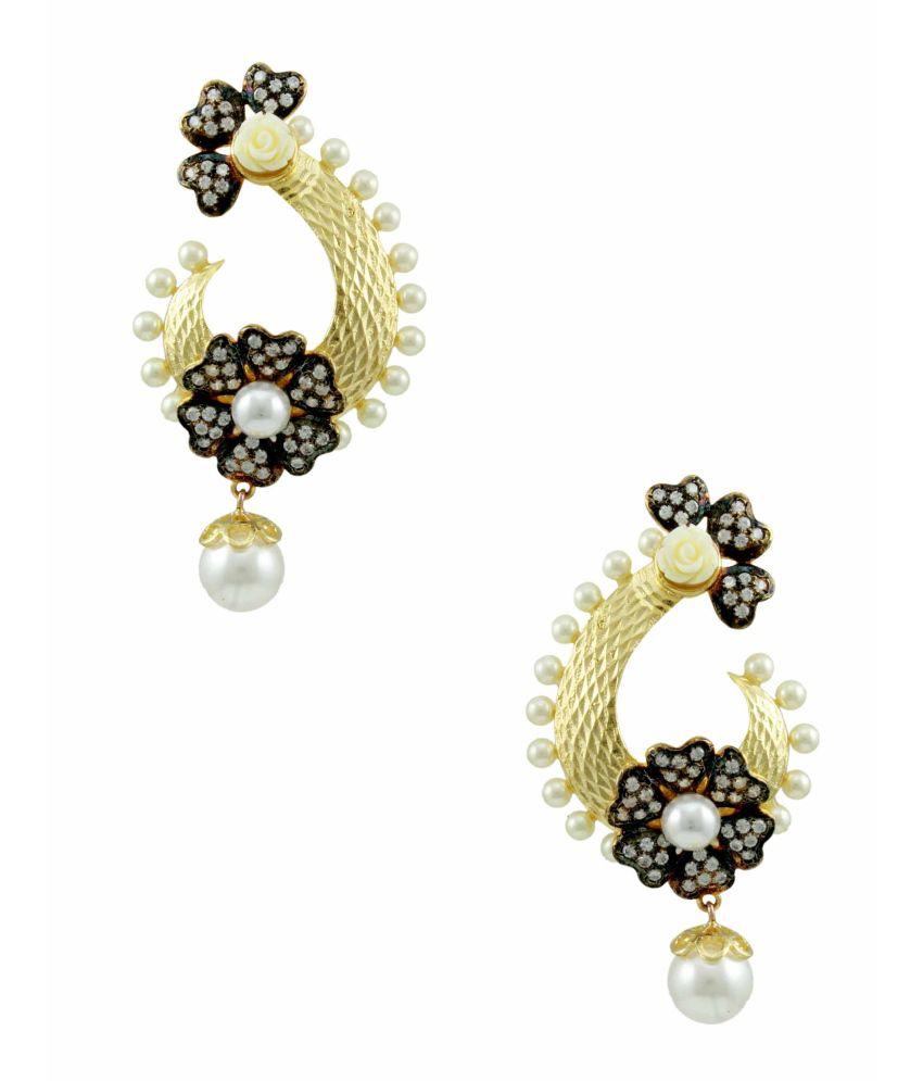 Orniza Exotic Matt Finish Floral CZ Earrings