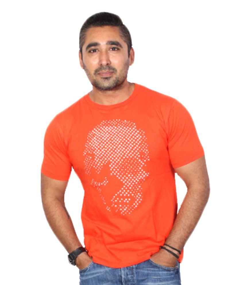 Trend Sense Orange Cotton Round Neck Half T-Shirt