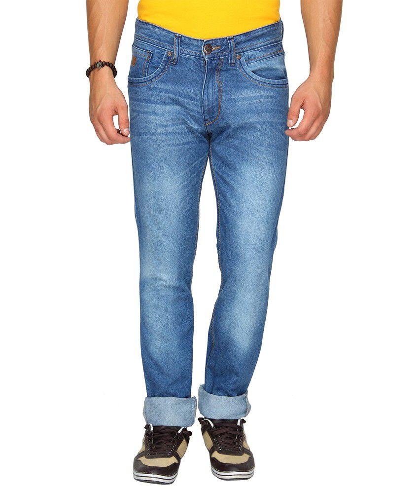 Wrangler Blue Cotton Slim Men Jean