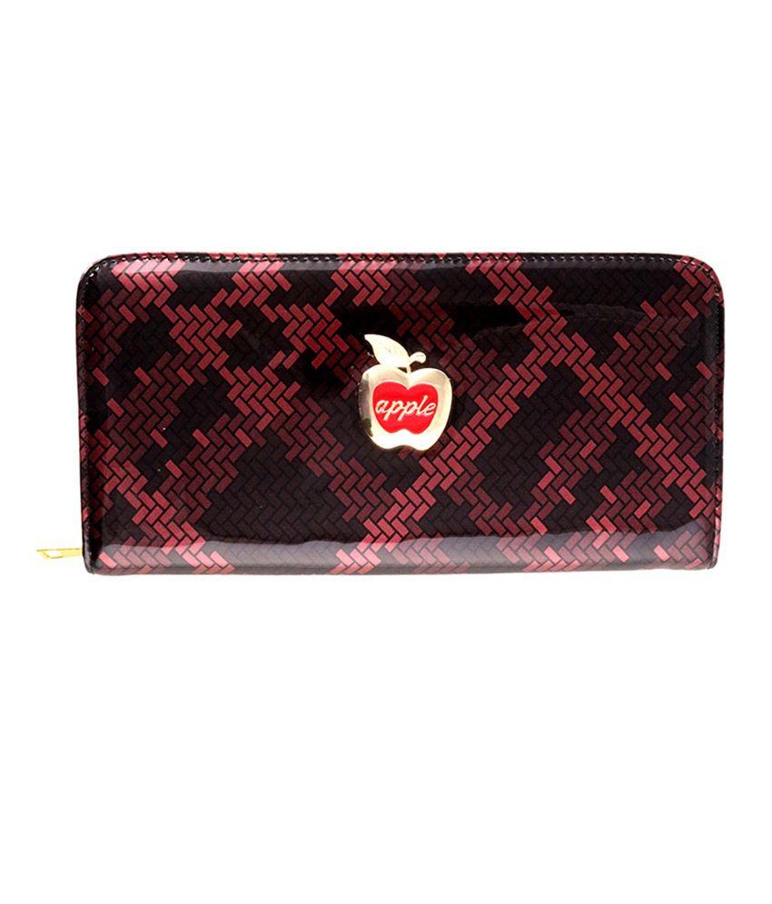 Kalon Red & Black Single Zipper Wallet