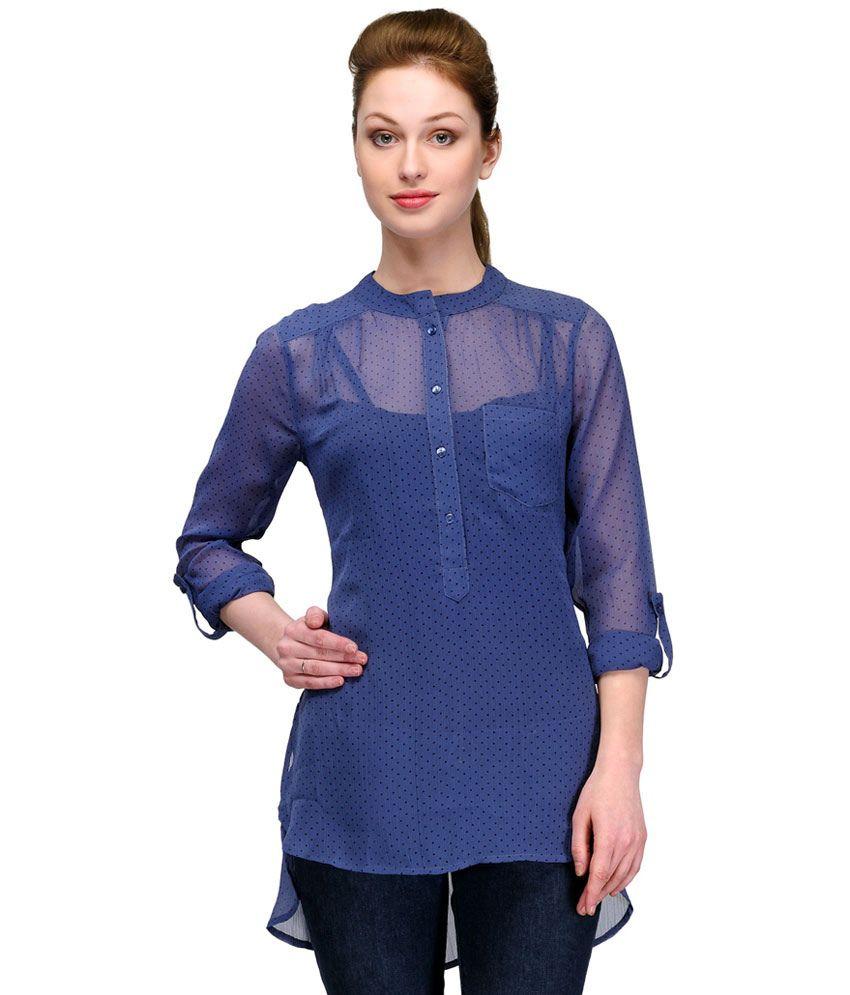 Pique Republic Blue Polyester Full Sleeve Tunics