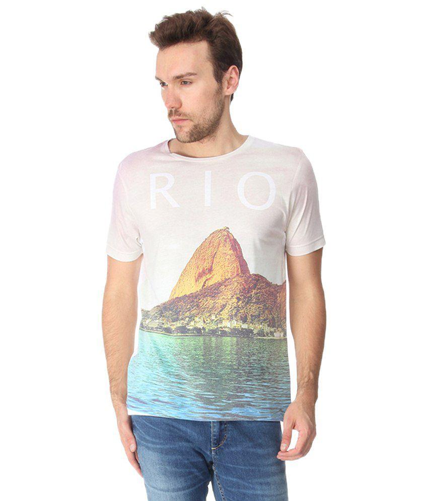 Slub Rio Off White & Orange Printed T Shirt