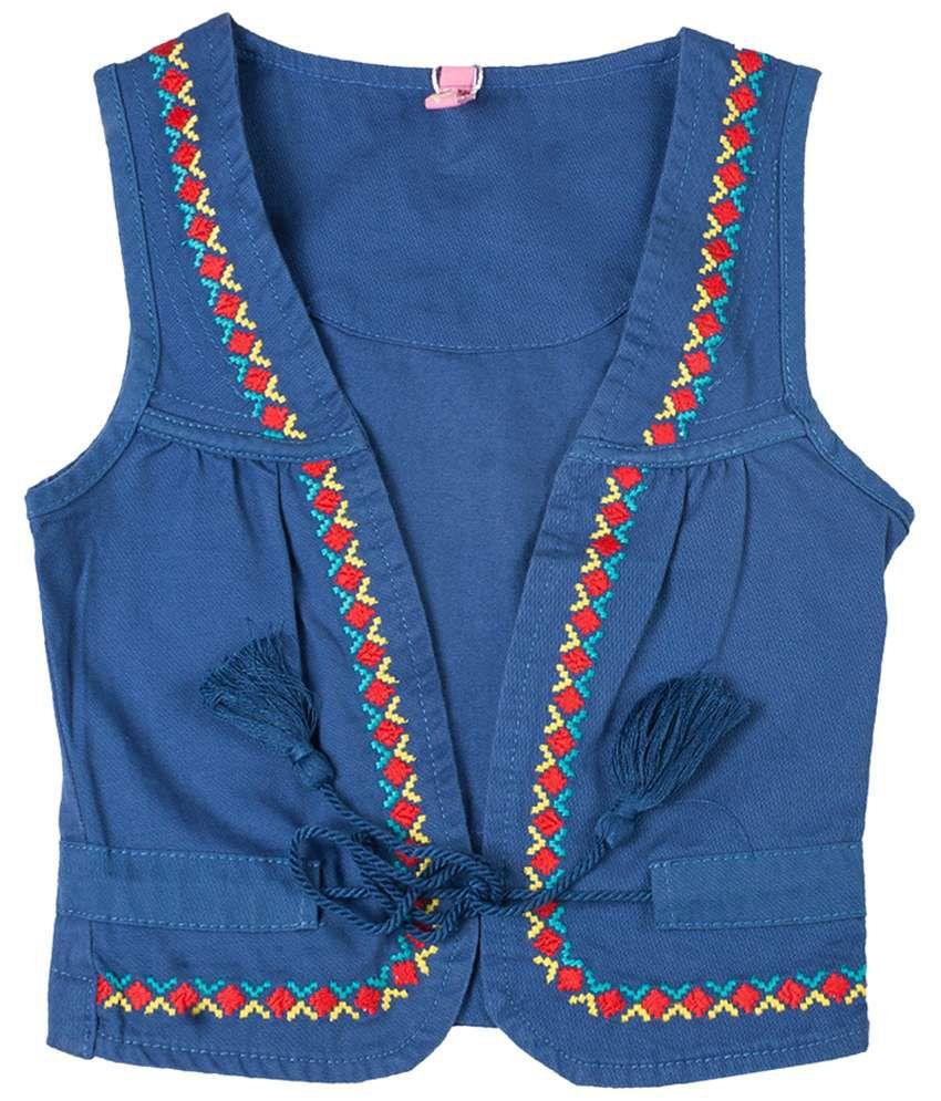 Tickle Girls Navy & Red Sleeveless Jacket