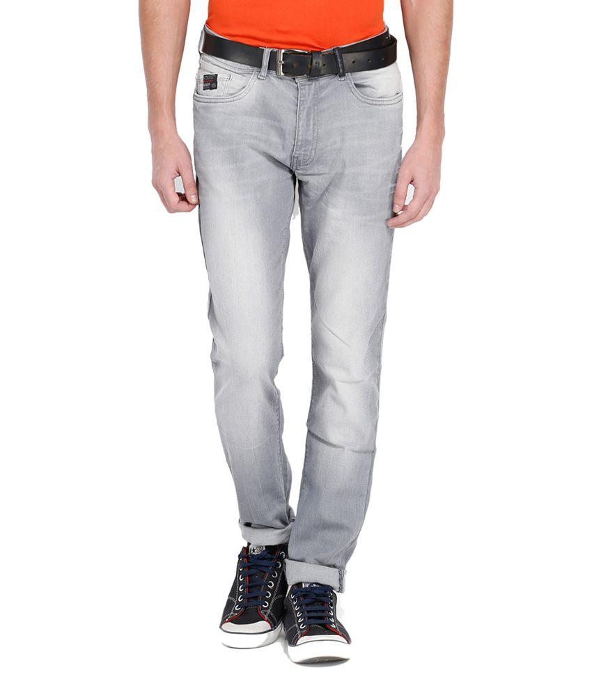 Locomotive Gray Cotton Blend Slim Fit Jeans