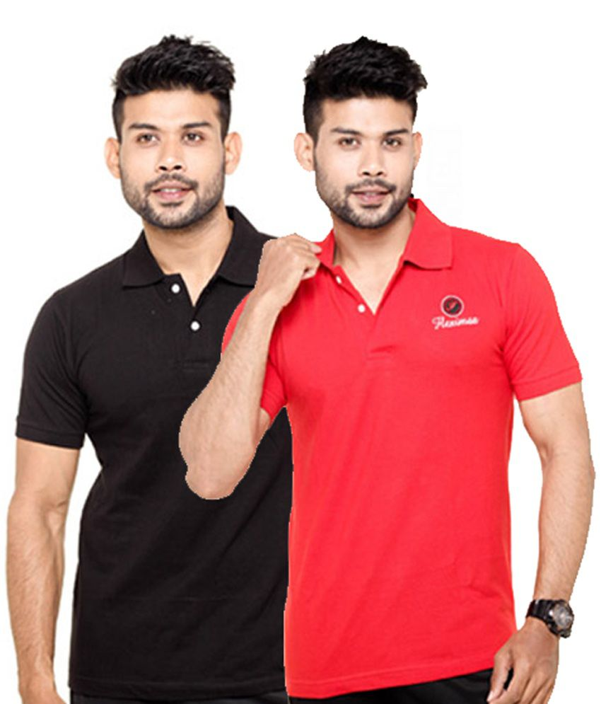 Black t shirt red collar - Fleximaa Black Red Collar Polo T Shirts Pack Of 2