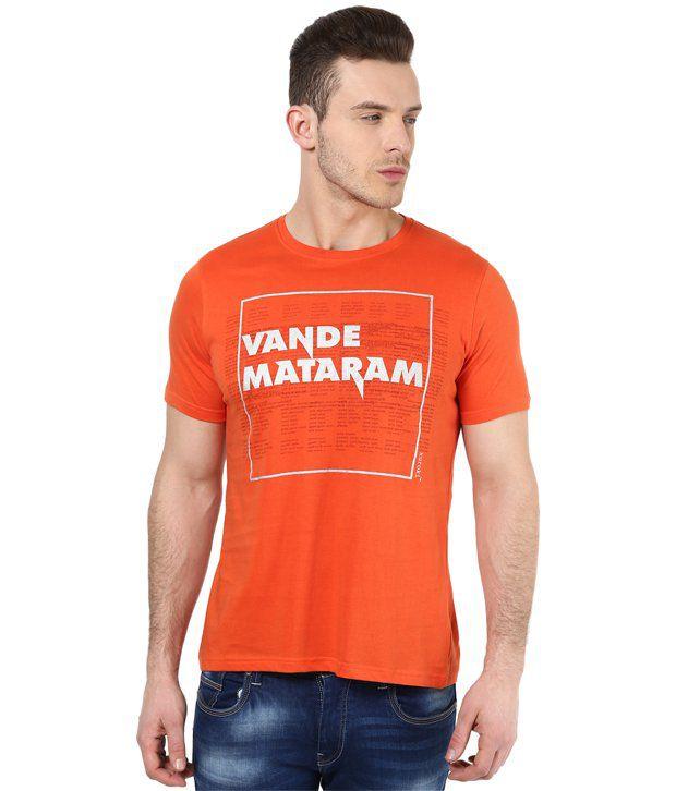 Mens Casual Tshirt - Printed - Orange Color Cotton Round Neck Tshirt - Nirvana