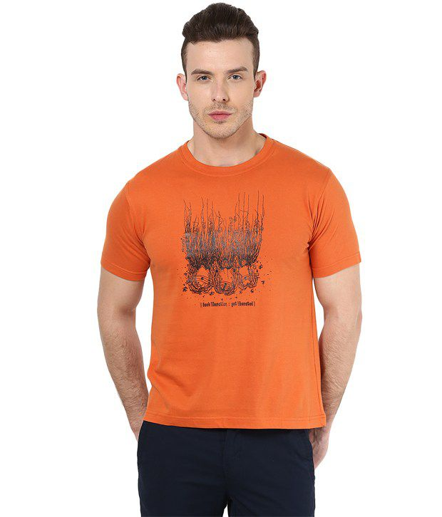 Mens Casual Tshirt - Printed - Orange Color Cotton Round Neck Tshirt - Nirvana