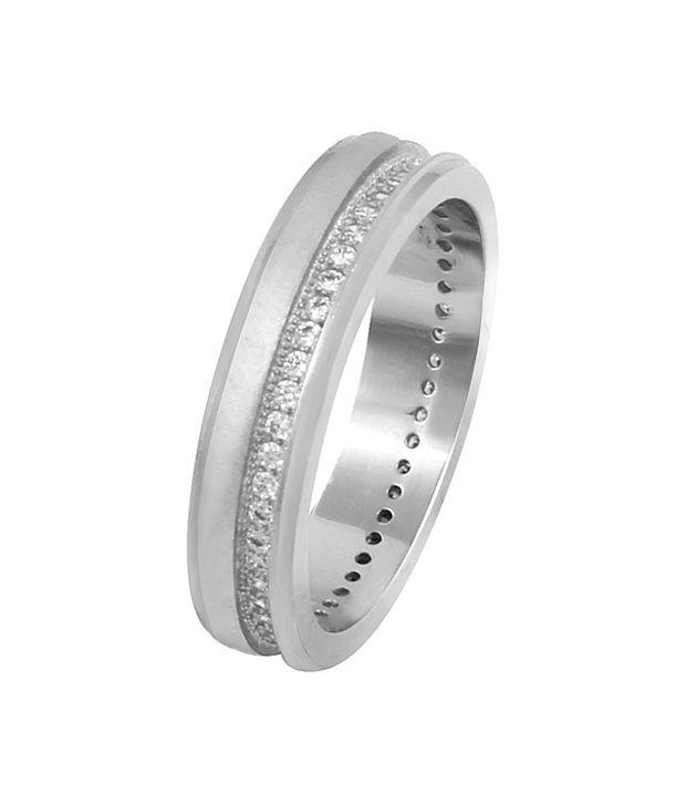 Payalwala 92.5 Sterling Silver Cubic zirconia Circle of Life Band Ring