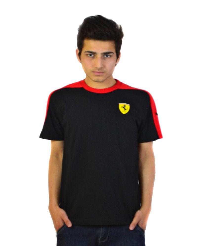 Puma Black Cotton Round T Shirt