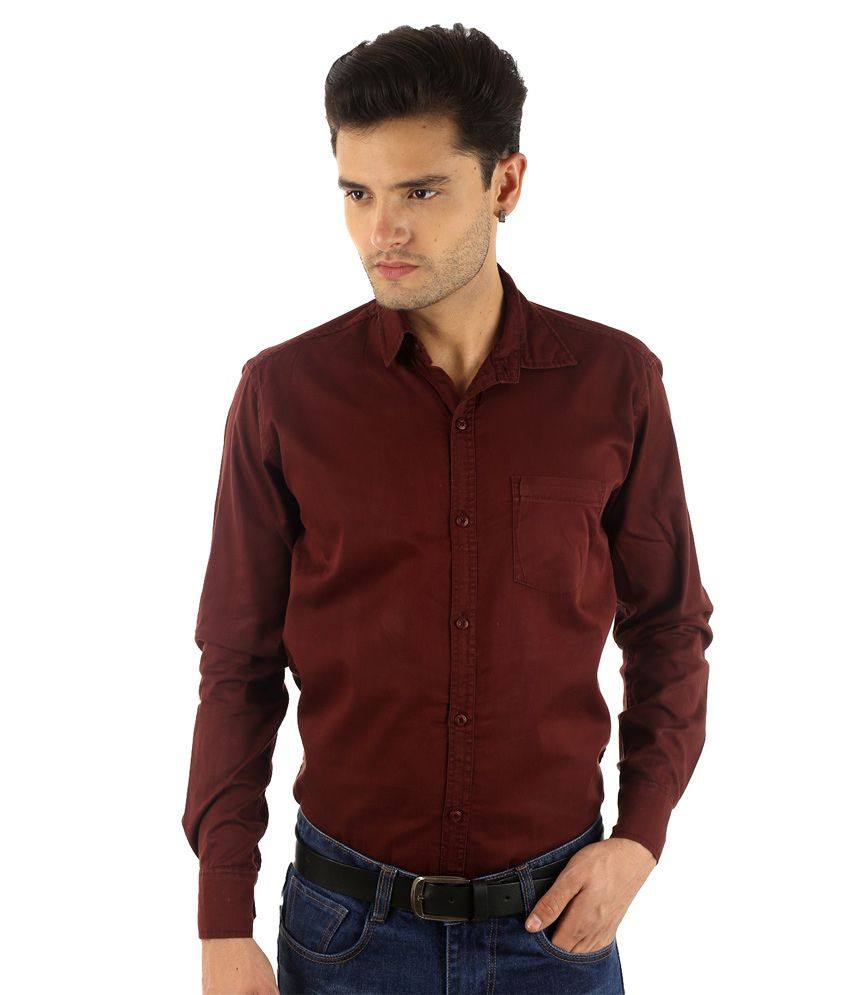 86 Pearls Maroon Cotton Blend Slim Fit Casual Shirt