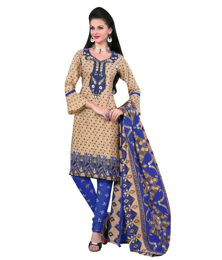 Fatima Fashion Beige Cotton Printed Dress Material