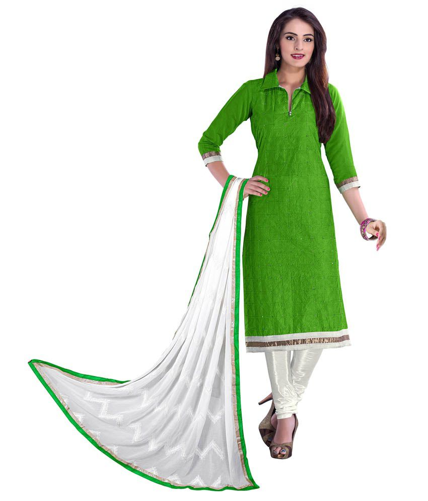 Ashiti Green Cotton Embroidered Dress Material