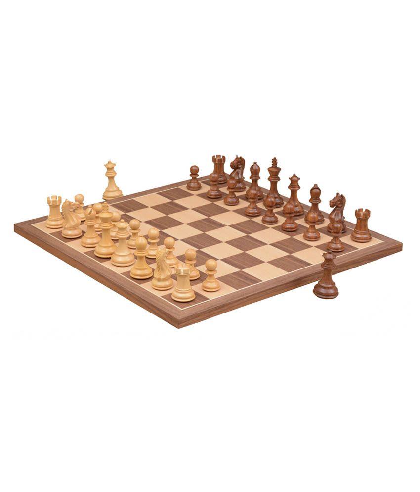 Chessbazaar Combo of Fierce Knight Sheesham Chess Pieces & Walnut Maple Chessboard - 3.0 Inches King