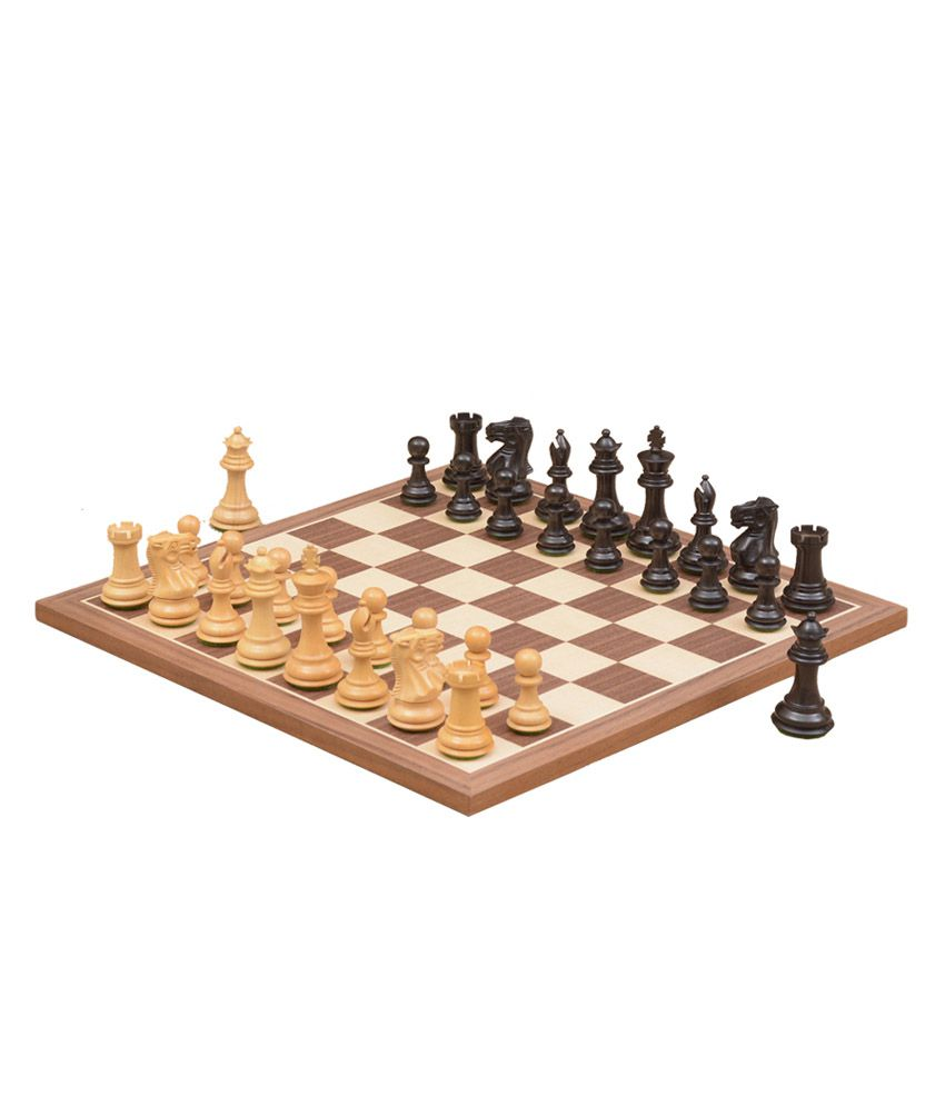 Chessbazaar Combo of Staunton Series Dyed/ Stained Chess Pieces & Walnut Maple Chessboard - 2.7 Inches King
