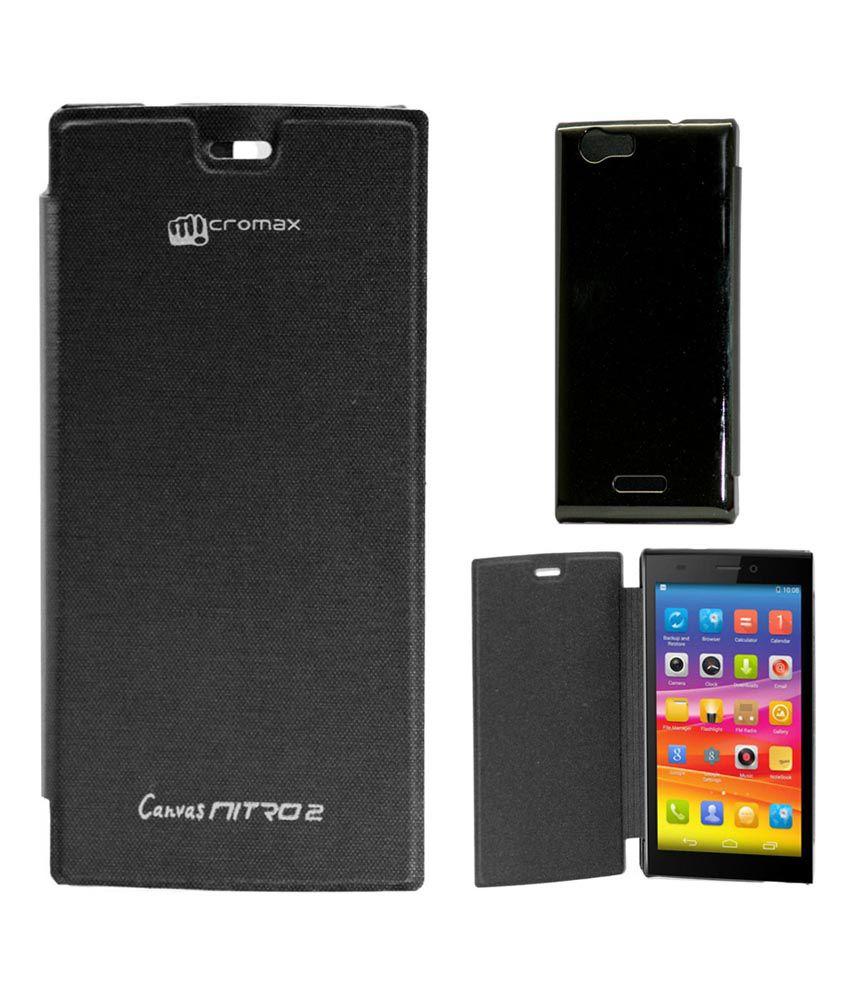 finest selection 1fa47 3fc49 Gizmofreaks Flip Cover For Micromax Canvas Nitro 2 E311 - Black