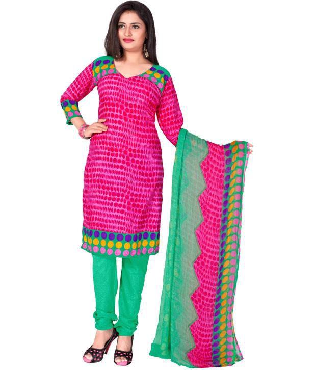 Khoobee Pink Printed Art Crepe Regular Fusion Dress Material