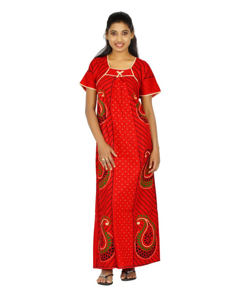 Maa Collection Red Cotton Floral Nighty