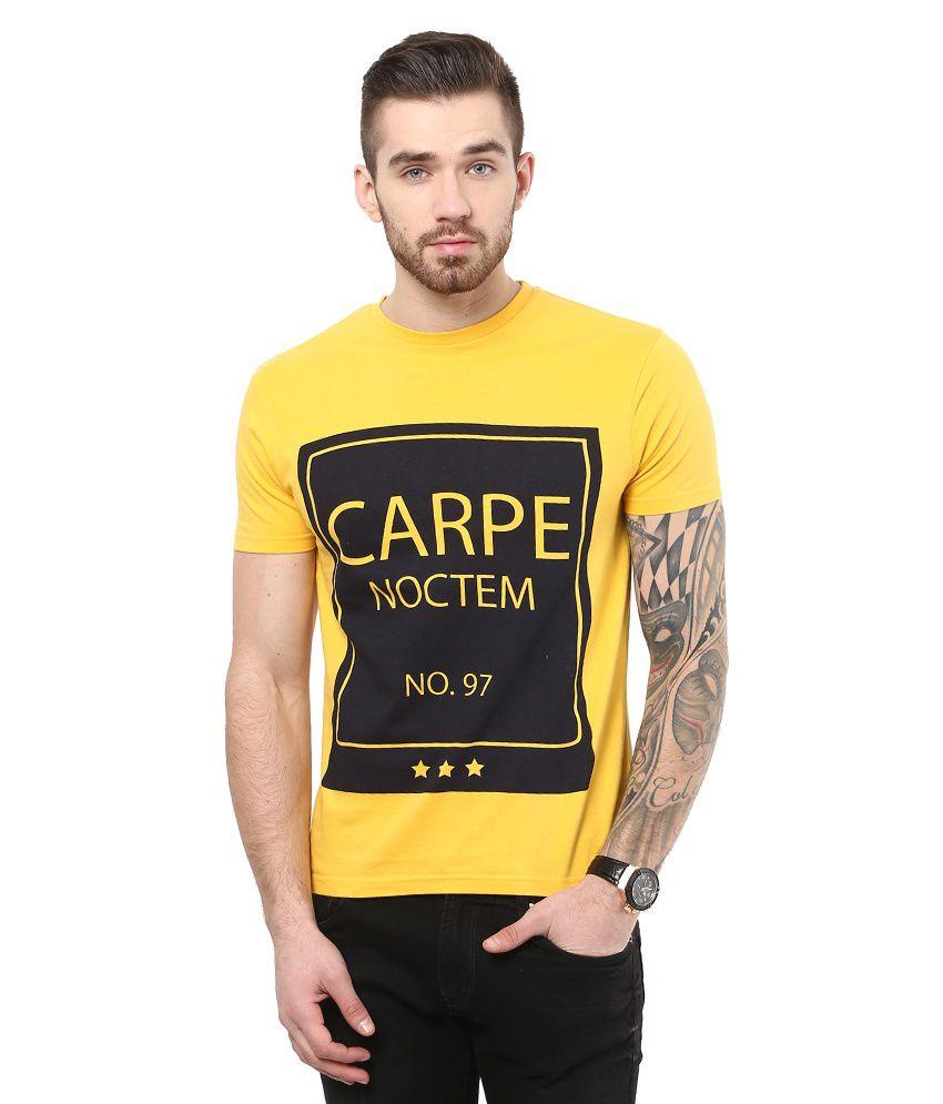Monteil & Munero Yellow Cotton Half Sleeve T-shirt