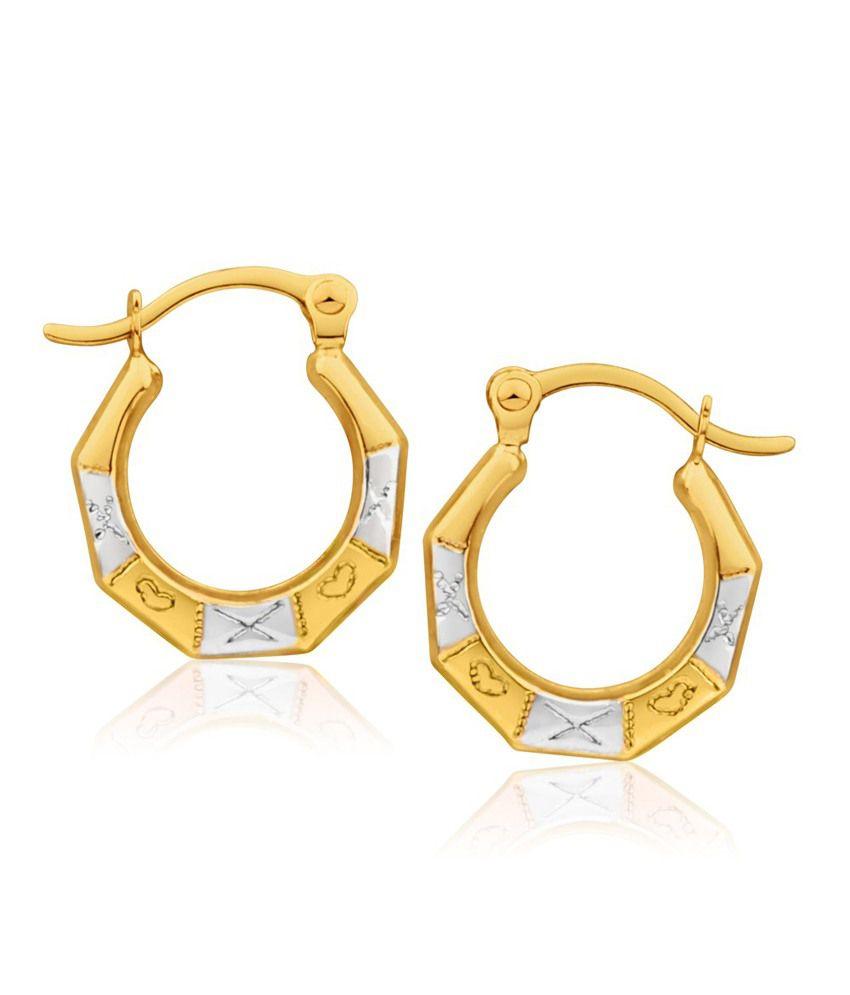 Aiza Certified Real Diamond Hallmarked Historic Love Gold Earrings