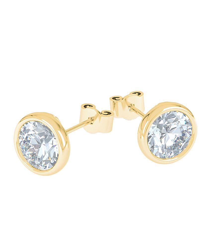 Aiza Certified Real Diamond Hallmarked Gold, Round Diamond Stud Earring