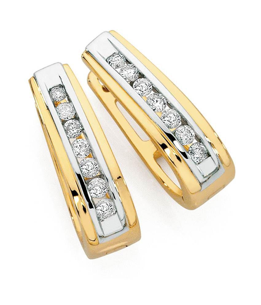 Aiza Certified Real Diamond Hallmarked Charming Gold Earrings