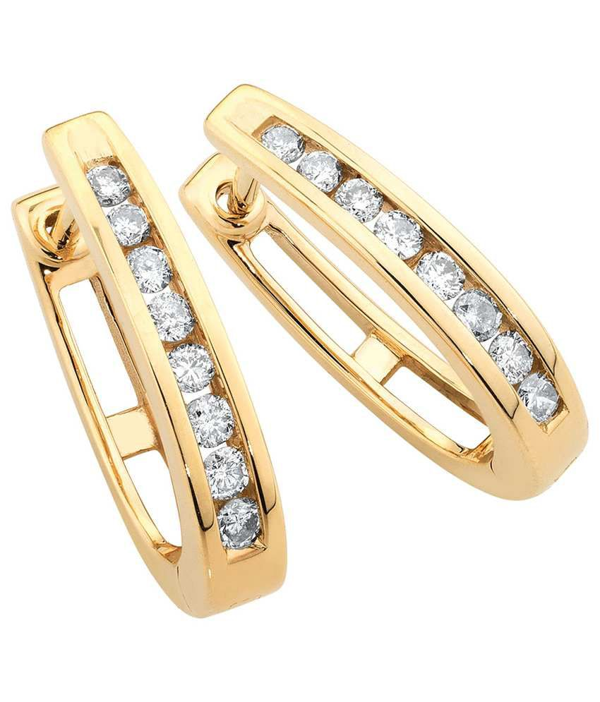 Aiza Certified Real Diamond Hallmarked Unique Gold Earrings