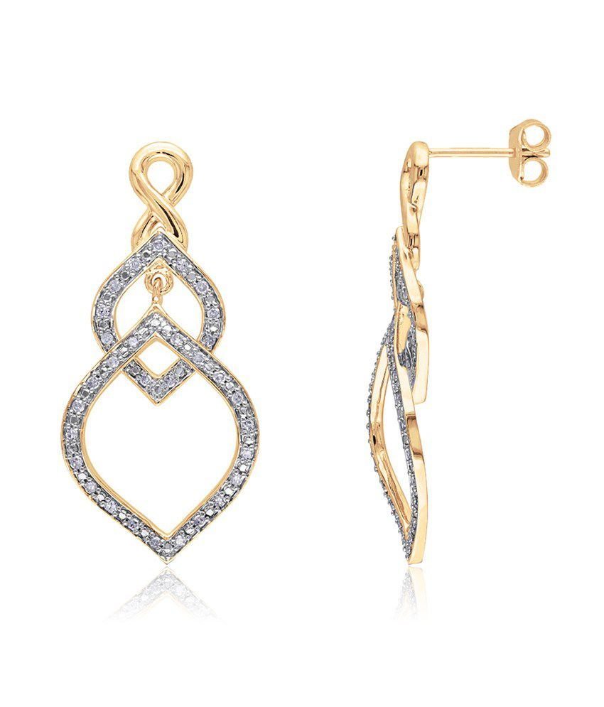 Aiza Certified Real Diamond Hallmarked Precious Gold Earrings