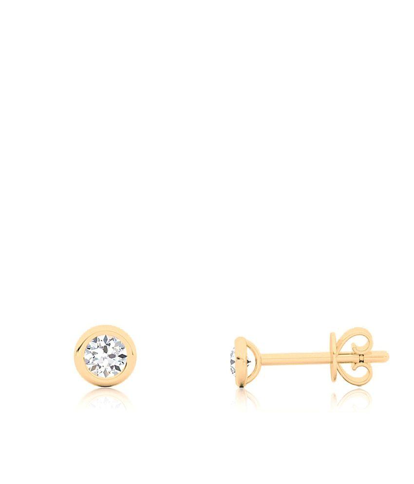 Aiza Certified Real Diamond Hallmarked Exotic Stud Beautiful Gold Earrings