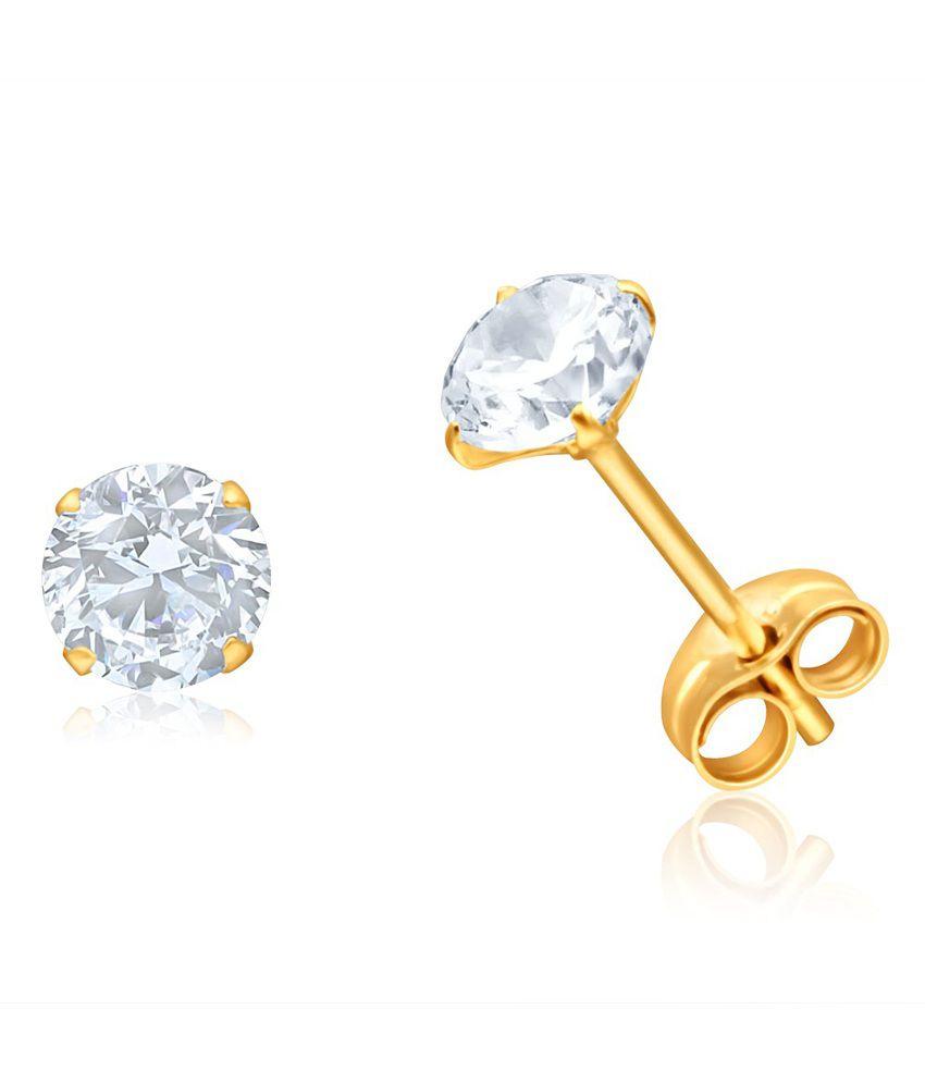 Aiza Certified Real Diamond Hallmarked Stud Gold Earrings