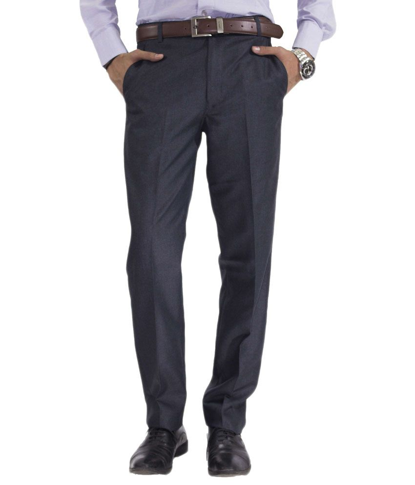 Dress Code Blue Cotton Blend Formal Trouser