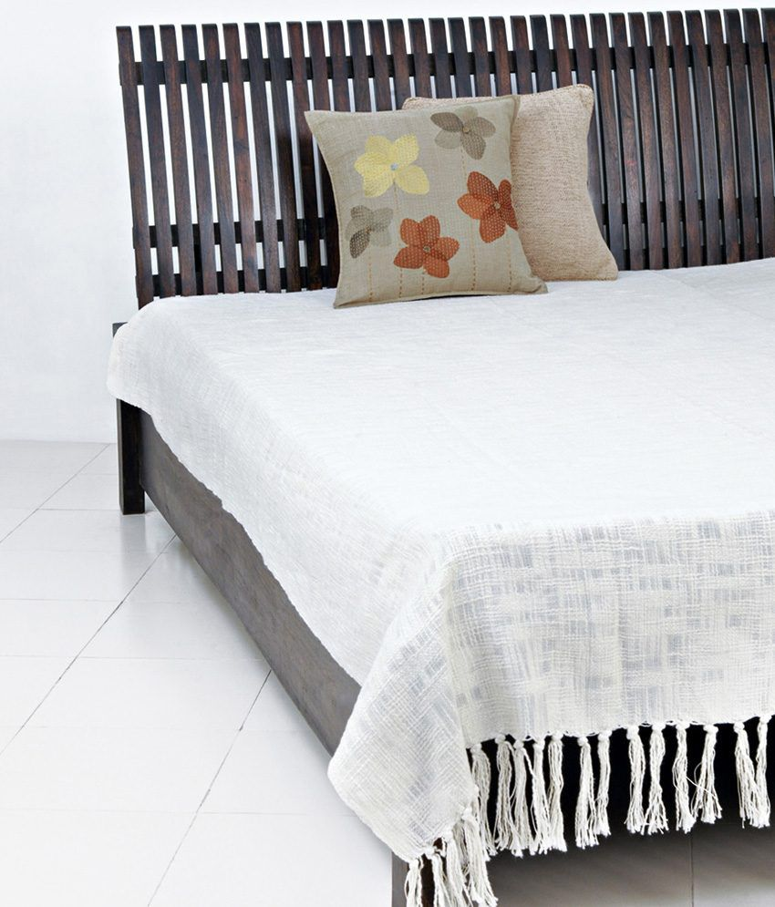 fabindia white plain cotton woven chaman bed cover double buy