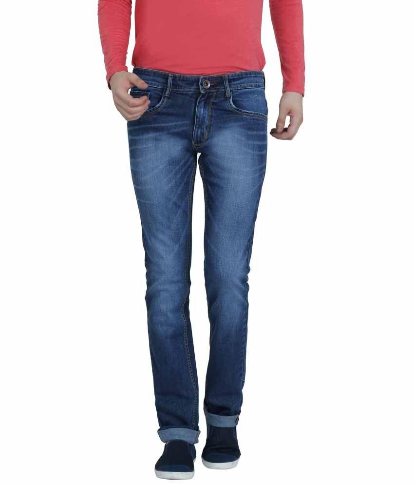 Louppee Blue Cotton Blend Slim Fit Jeans For Men