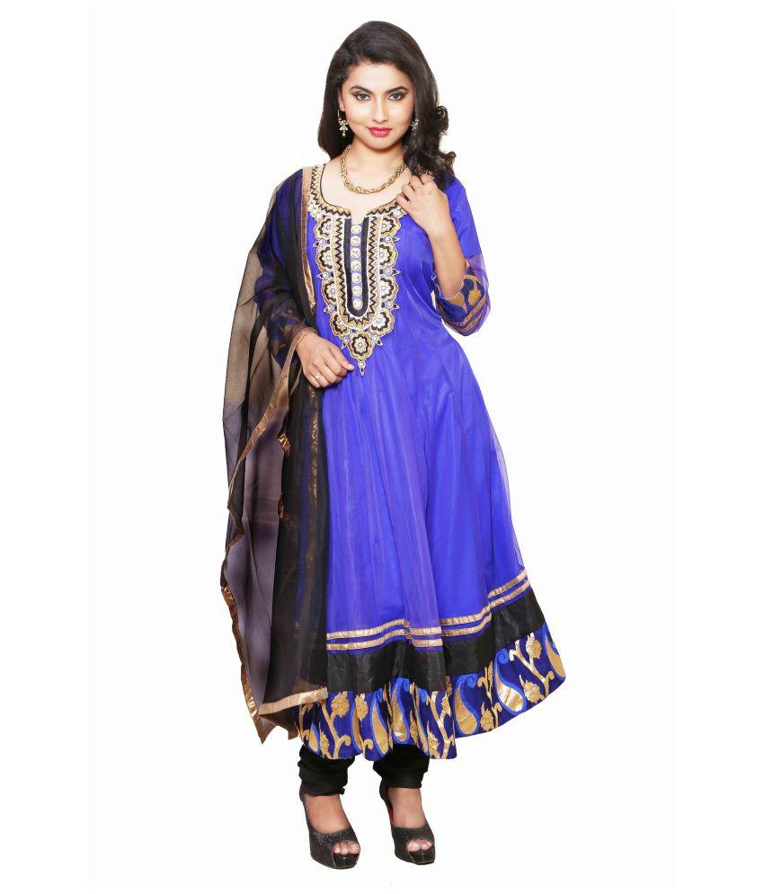 Anica Blue Net Anarkali Salwar suits