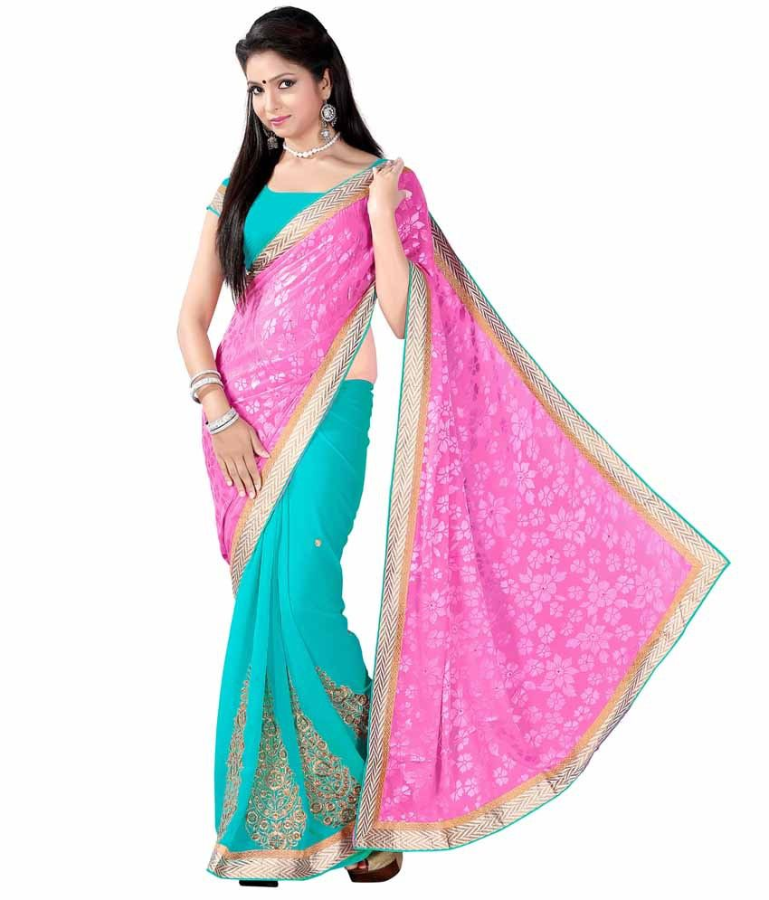 Khoobee Pink Georgette Ready to Wear Saree