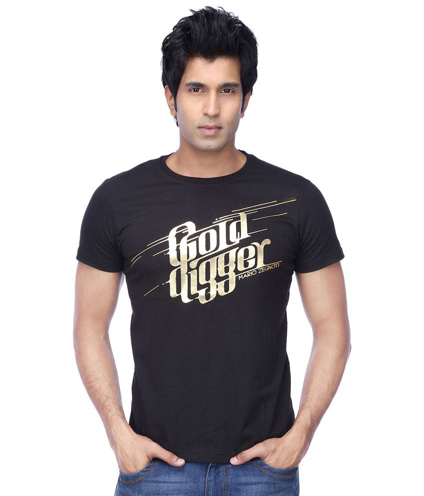 MARIO ZEGNOTI By Shoppers Stop Black trendy graphic T-shirt