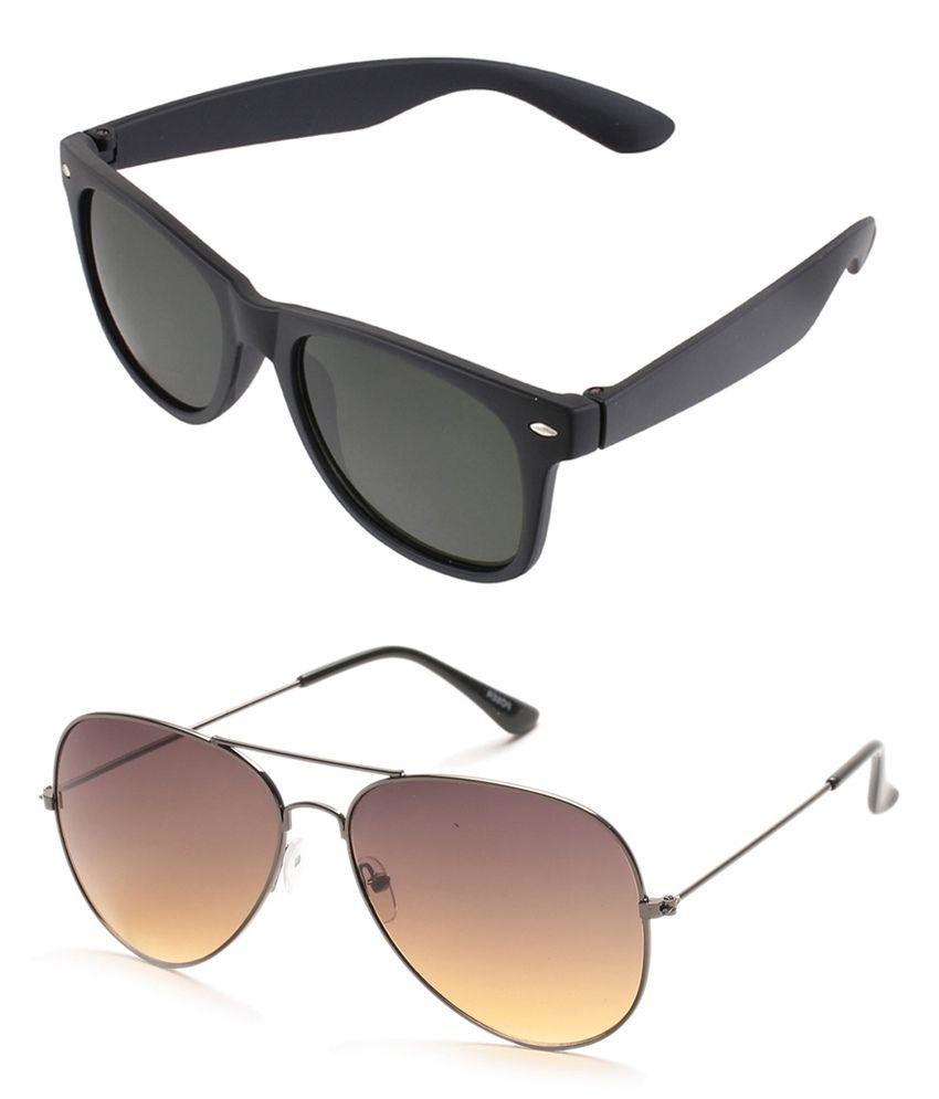 magjons Brown Aviator and Black Wayfarer Sunglasses Combo