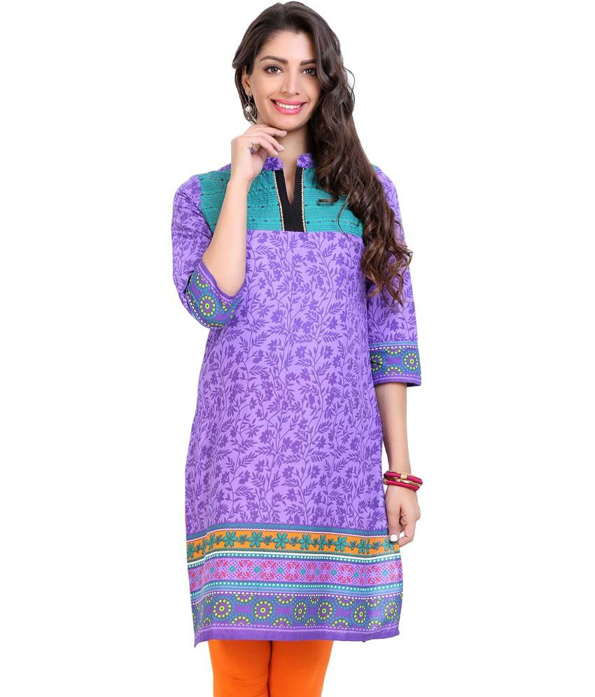 Aaboli Purple Cambric Straight Womens Long Kurta