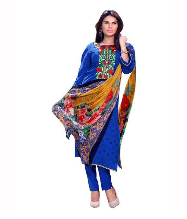 Anaya Fashions Blue Cotton Printed Dress Material
