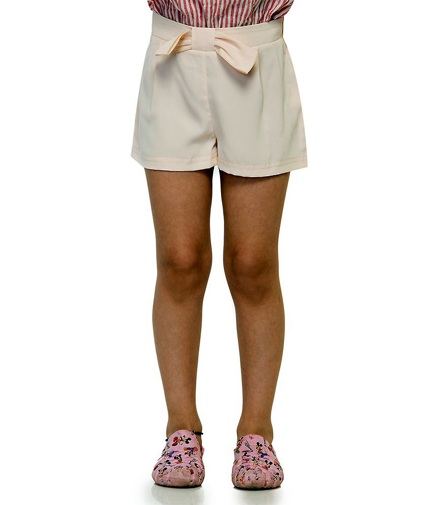 Oxolloxo Beige Synthetic Printed Beautiful Shorts For Girls