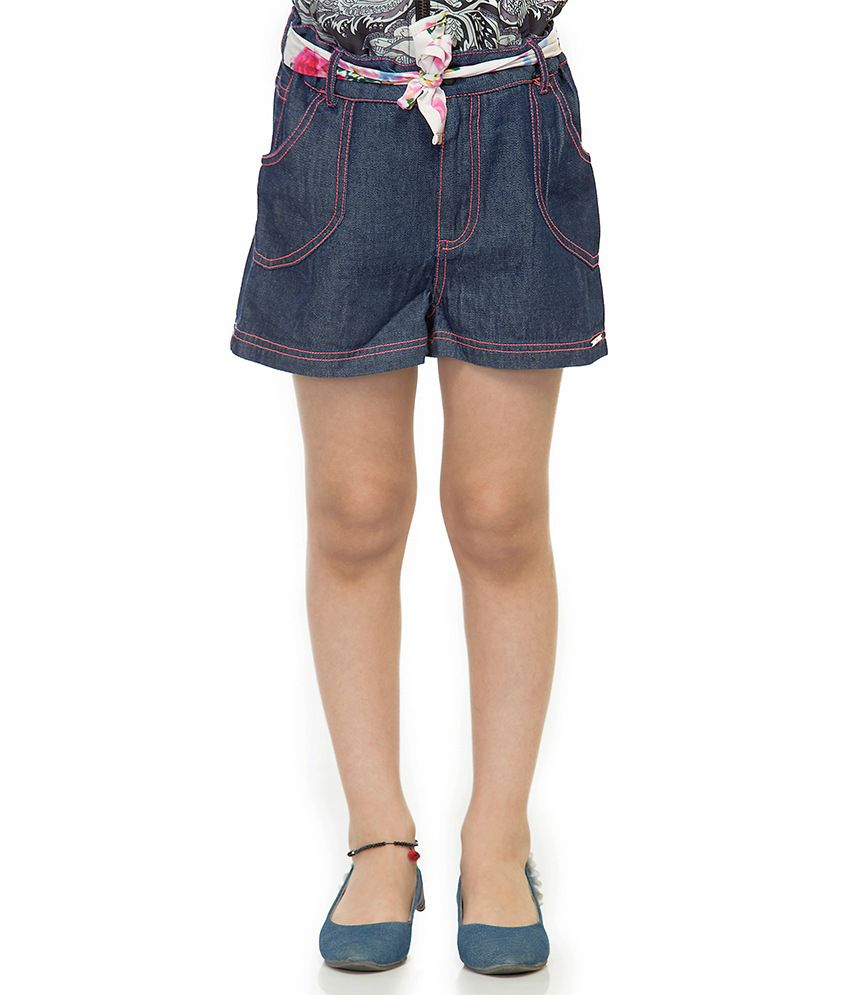 Oxolloxo Blue Cotton Printed Beautiful Shorts For Girls