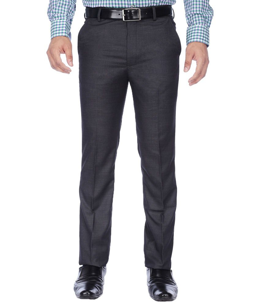 Stop By Shoppers Stop Dark Gray Formal Trouser