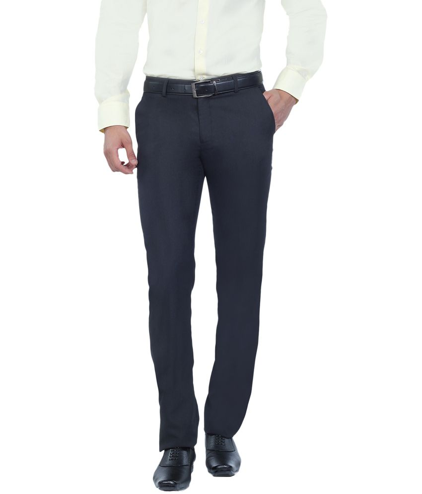 Live In Navy Cotton Slim Fit Casual Chinos