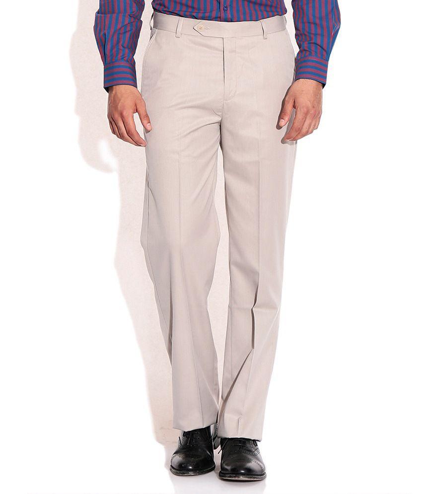 SDF Beige Men's Formal Plain Trouser
