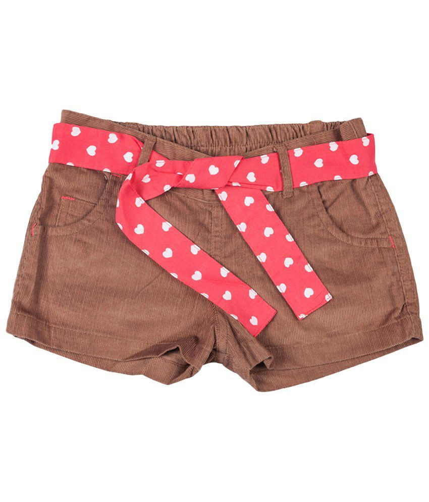 Tickle Girls Brown Shorts With Belt