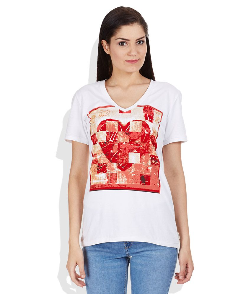 02ffea9d538 Buy Calvin Klein Jeans White Printed V Neck T-Shirt Online at Best Prices  in India - Snapdeal