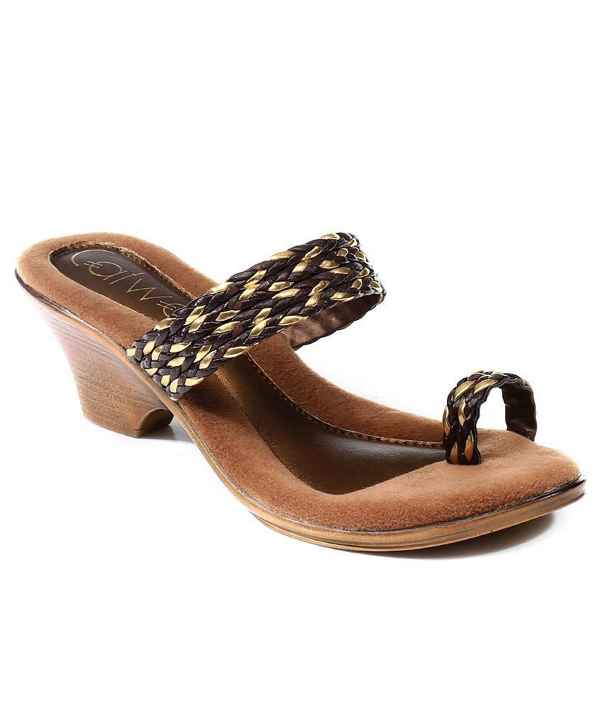 Catwalk Gold Block Heeled Slip-On