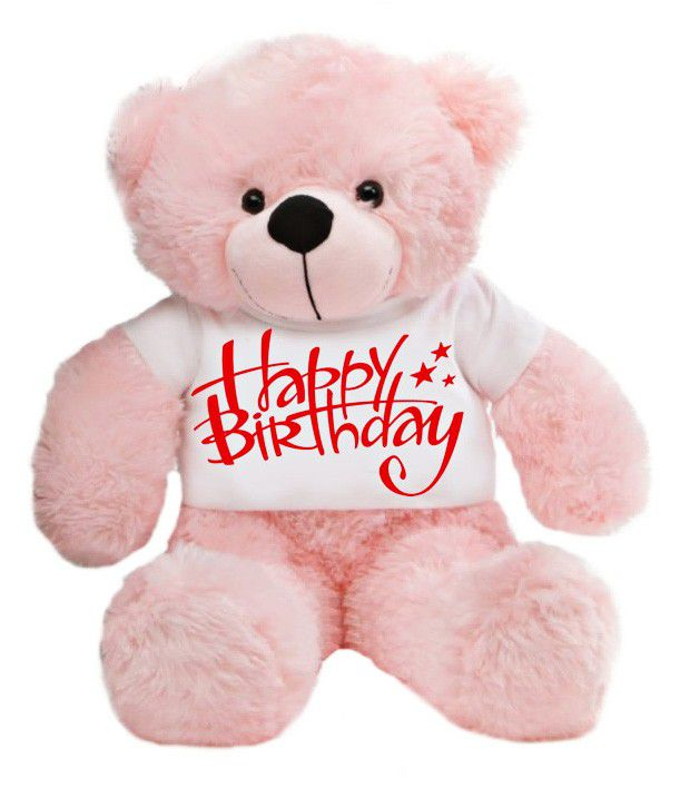 Grabadeal Cute Pink Teddy Bear Stuffed Love Soft Toy For Boyfriend Girlfriend In Happy Birthday T Shirt 24 Inches