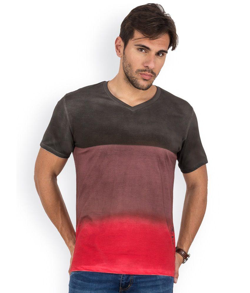 Blu Mnky Red Printed Cotton V-Neck T-Shirt