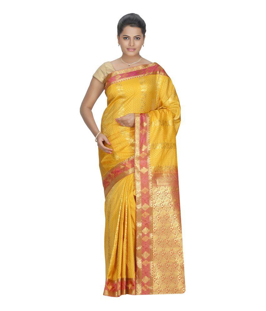 Fashiontra Gold Plain Art Silk Saree With Blouse Piece