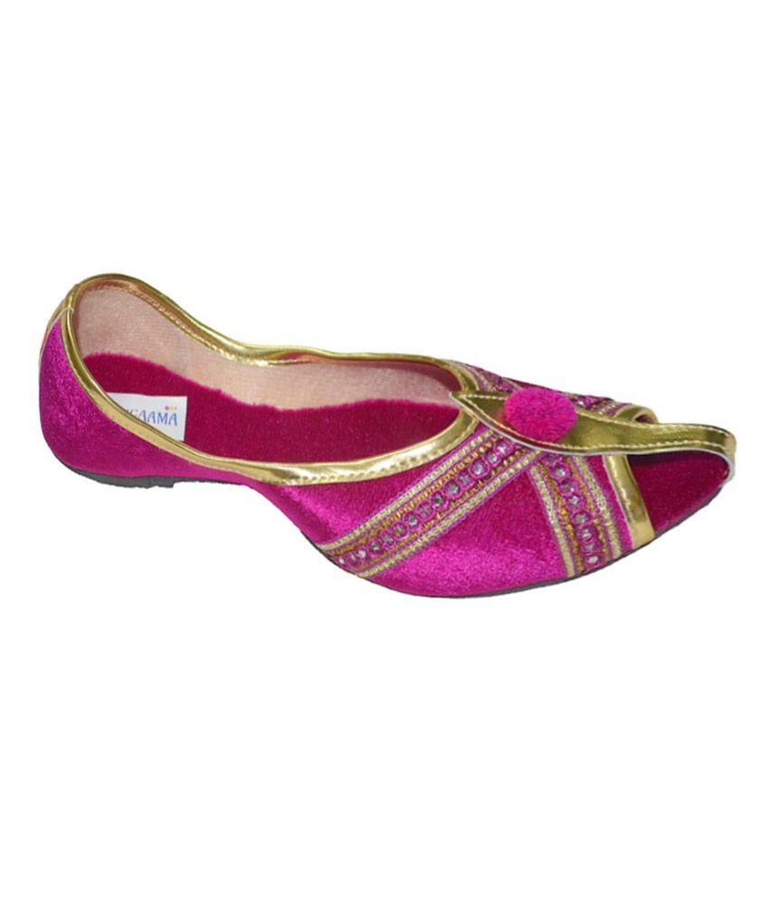 Rangaama Golden Cross Pink Velvet Mojari Jutti